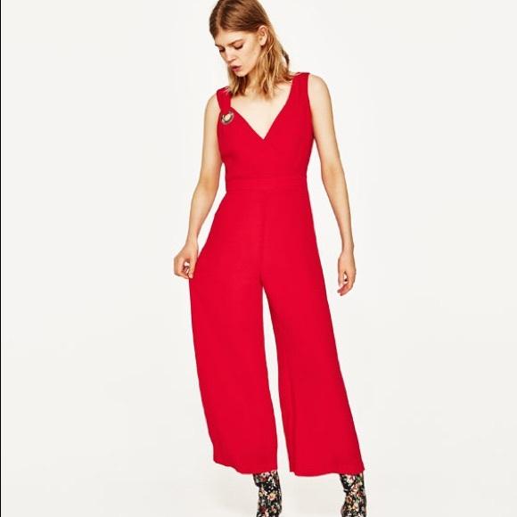 edf56caaab Zara Red WideLeg Silver Eyelet Sleeveless Jumpsuit